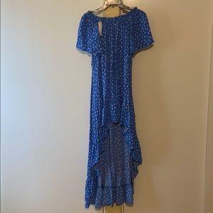 Floral off shoulder high low train maxi dress